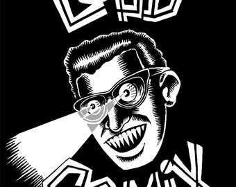 LOUD COMIX Buddy Holly x-ray vision shirt by Jamie Vayda