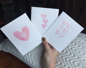 Handmade Watercolor Heart Cards