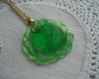 SALE Winter Rose Vintage Molded Translucent Green West Germany Glass Flower Pendant Gold Necklace Nature Inspired