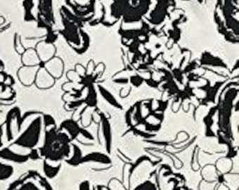 "Black and White  floral cotton blend 58"" wide sold PER METRE"