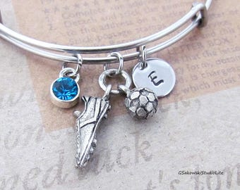 Soccer Shoe and Ball Charm Personalized Hand Stamped Initial Birthstone Soccer Ball and Cleat Stainless Steel Expandable Bangle
