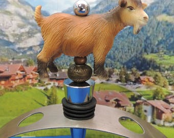 Goat Wine Stopper Brown Milk Goat Wine Gift  Farm Animals