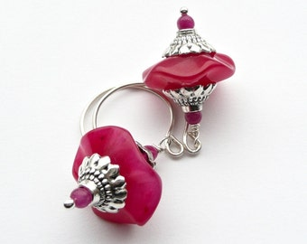ORIENTAL Hot Pink drops, Pink Silver earrings, Bridal Earrings, Party Drops, Jade Dangles, Urban Chic dangles, Cottage Chic Drops