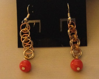 Copper and Coral Earrings