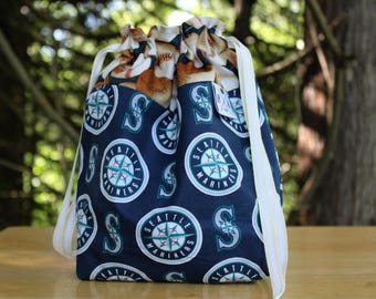Mariners Project Bag, Baseball Fan Drawstring Bag, Gifts for Dad, Gifts for Knitters, Gifts for Crocheters, Gifts for Yarn Bags,