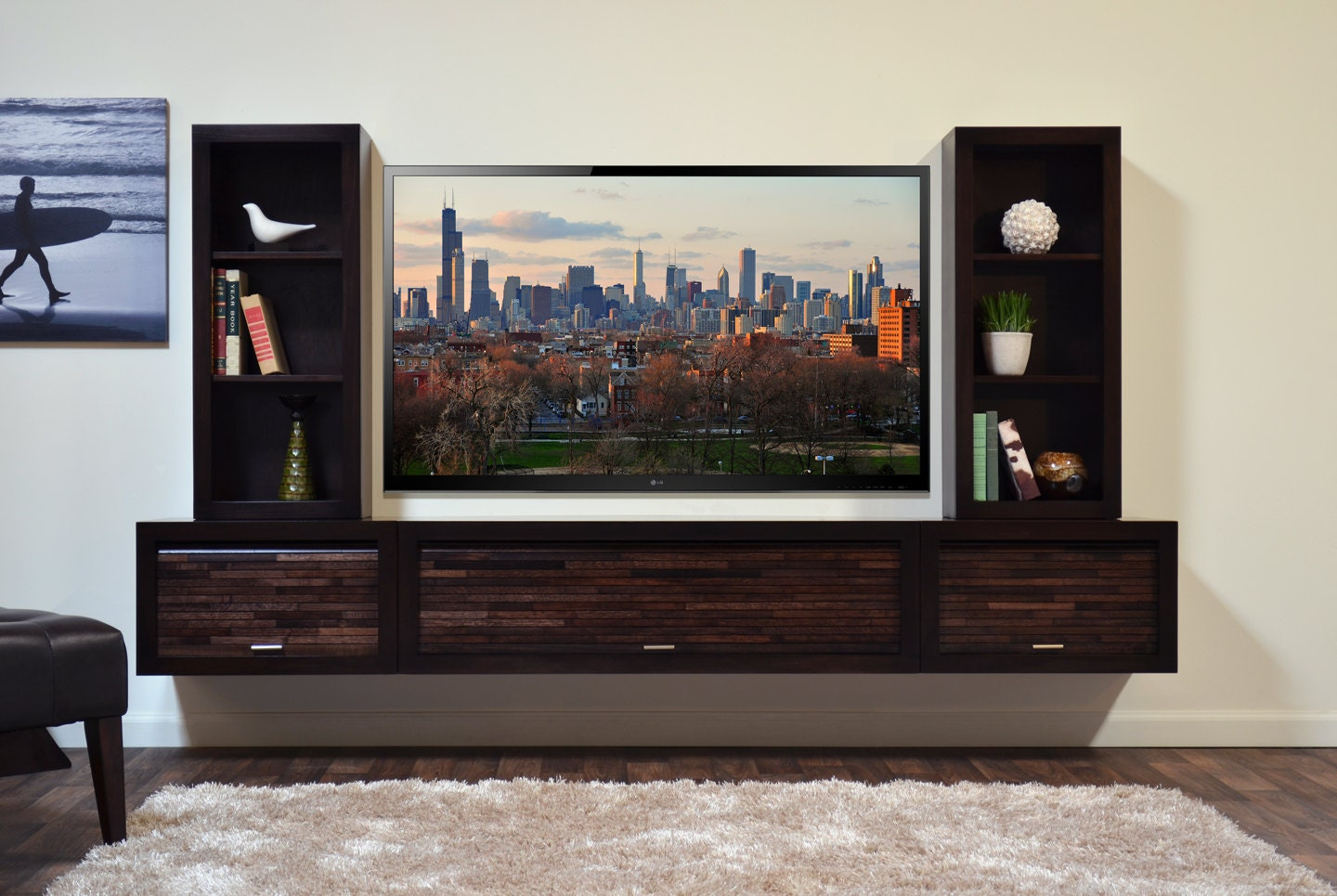 Modern wall mounted floating tv stand entertainment console for Wall mounted tv showcase designs