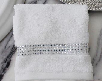 Rhinestone Stripe Fingertip Towel