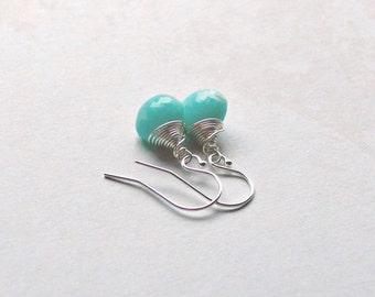 Sterling Silver Amazonite Earrings Turquoise Earrings Gifts for Her Gifts under 25
