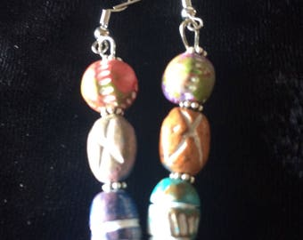 Painted desert rock earrings