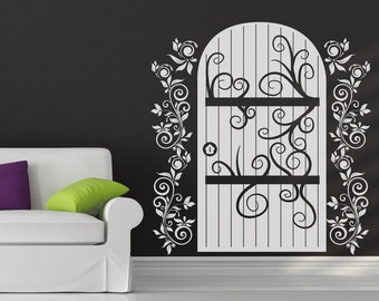 Vinyl Wall Decal Sticker Wooden Door with Vines OSDC637s