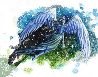 Virgo- The Virgin- Mixed Media Fabric Illustration- Framed Original