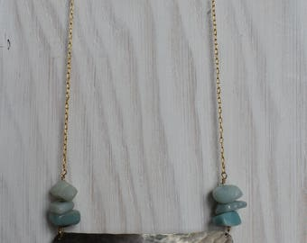 Large Hammered Nickel Half Moon Statement Necklace with Amazonite
