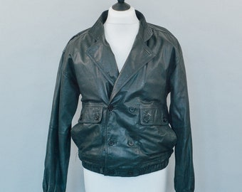 Vintage 80's Distressed Black Leather Bomber Jacket Indie Small Chest 34 36