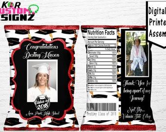 Graduation Favor Bags - Custom Chip Bags - Graduation Party - Graduation Favors - Graduation Gifts - Printable - Chip Bags - Graduation
