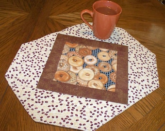 Brown and Tan Placemats, Bagels and Coffee Quilted Place Mats, Breakfast Placemat Quilt, Set of two, six available, Quiltsy Handmade