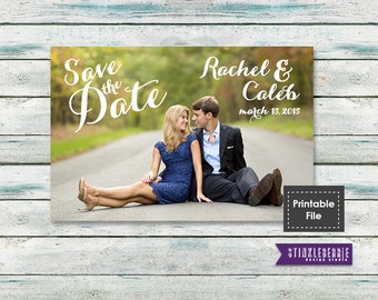 Rustic save the date, Photo Save the Date card, Calligraphy Save the Date, Script save the date, save the date magnet, printable