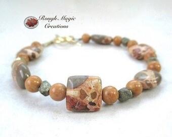Brown Stone Bracelet, Safari Jasper, Fools Gold Iron Pyrite, African Animal Print Beaded, Genuine Gemstone Jewelry, Brass Toggle Clasp B547