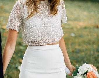 Bridal separates top - Sarah crop top