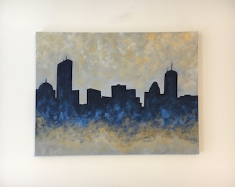 Boston Skyline Acrylic Painting