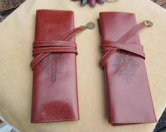 COSMETIC or ARTIST brush wrapped bag TWILIGHT stamp brown, fx Leather.!