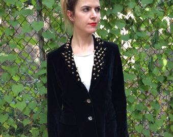 Custom Studded Vintage Velvet Blazer