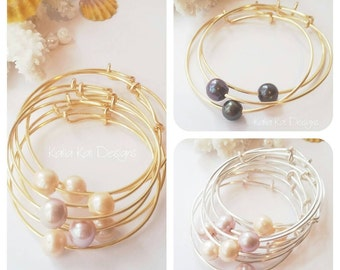 bangle bangles gold pearl rose delicate bracelet media
