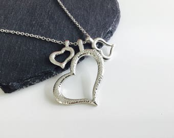 3 heart necklace, heart pendant, necklace, jewellery, heart jewellery, gifts , hearts , jewelry , charm necklace, cute gift , custom