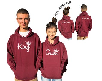 KING QUEEN couple hoodies, personalized Back custom Dates, Comes in a pair, Anniversary gift Matching