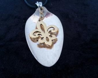 Fleur De Lis, New Orleans, NOLA spoon jewelry, pendant necklace
