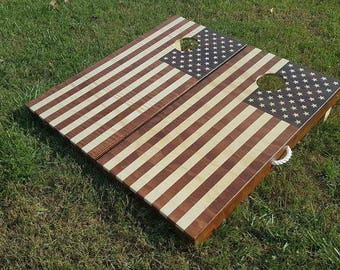 American Flag Cornhole Set   Hand Crafted Gel Stained! Folding Legs U0026 A  Full Set