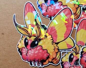 Rosy Maple Moth (dryocampa rubicunda) Holographic Sticker