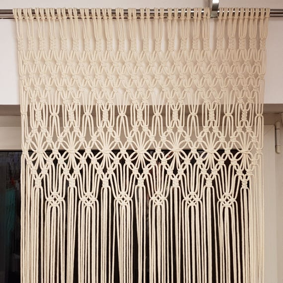 Long Macrame Curtain Window Curtains White Macrame Door