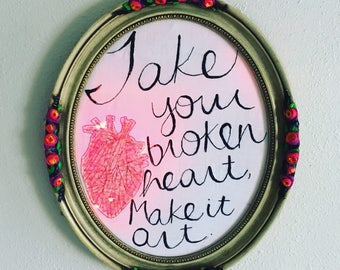 Take your broken heart  - hand drawn, painted and embroidered Carrie Fisher inspired wall hanging in a repurposed vintage frame with LEDs