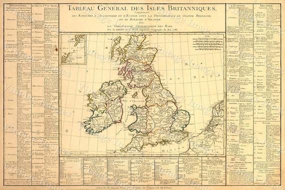 British Isles Scotland Map Large 1783 VINTAGE Antique Map of Western Europe Ireland Restoration decorator Style wall decor historic old map