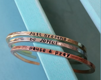 Personalized Copper Or Brass Or Silver Stacking Cuff (sold individually)
