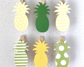 Yellow Green Pineapple Clothespin Decoration Clips Pin Summer Polka Dot Stripe Beach Nautical Wedding Party Favor Decor Dont Say Baby Game