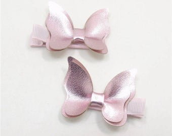 Butterfly Hair Clips Metallic Pair