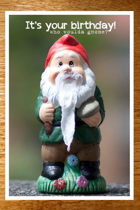 Funny garden gnome birthday card funny birthday card garden like this item bookmarktalkfo Image collections