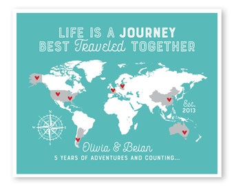 adventure map personalized anniversary travel map life is a journey best traveled together