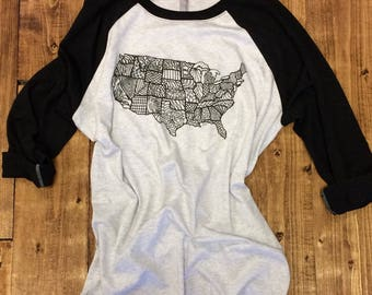 USA State of Zen 3/4 Sleeve T-Shirt