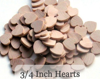 Unfinished Wooden Hearts - .75 inch - Pack of 100
