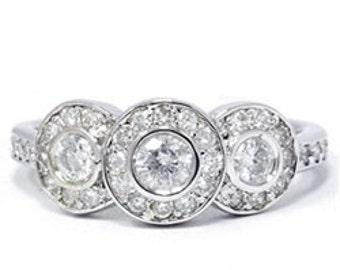 3/4ct Diamond Three Stone Engagement Ring 14K White Gold (G/H, I1)