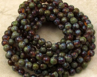 Czech Glass Druk Beads, 6mm Round, Green Turquoise Picasso, 30 Pc. C481
