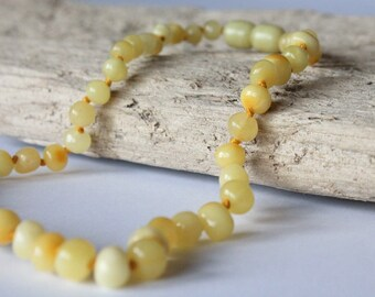Amber baby teething necklace, 100% natural Baltic amber beads, yellow color baby necklace, handmade baby necklace, baby necklace for pain
