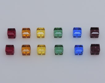 SWAROVSKI® Rainbow Crystal Cubes, Article #5601, 6mm Square Beads, Twelve(12) 6mm Cubes, Six rainbow colors; two in each color!