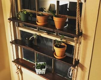 3-Tier Reclaimed Charleston Floorboards / Natural Jute Rope / Hanging Shelf Unit