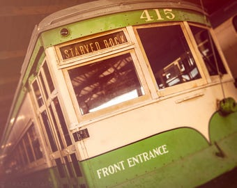 CTA Street Car, Chicago Photography, Vintage Car decor, Wall Art - Chicago Print, greenery green, light beige, pale yellow, Starved Rock