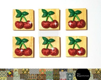 Glitter Cherry Magnets [Fridge Magnets, Fridge Magnet Sets, Refrigerator Magnets, Magnet Sets, Office Decor, Kitchen Decor, Magnetic Board]