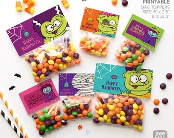 Halloween bag topper, Halloween treat bag topper, halloween, PRINTABLE, halloween decor, Monsters, Dracula, Zombie, Mummy, treat bag, DIY