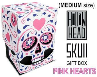 Hollow Head Sugar Skull Pink Hearts medium printable gift box